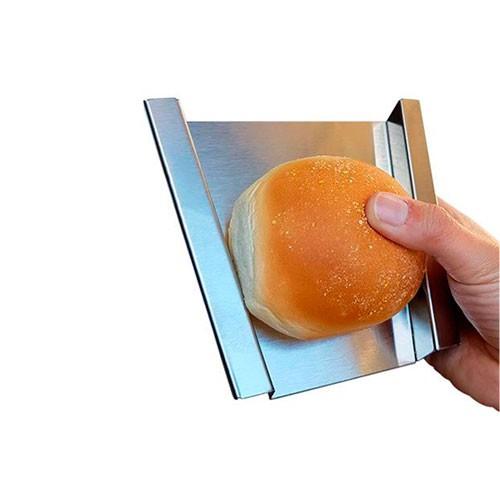 Kit 2 Prensador Inox Burger Com Borda + Regua Para Pão