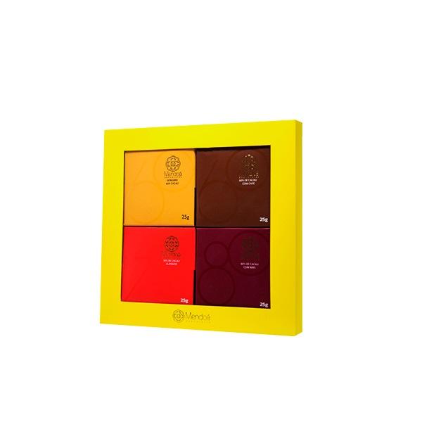 Caixa de Presente Mendoá 100 grs.   Mix barras  4 x 25 grs