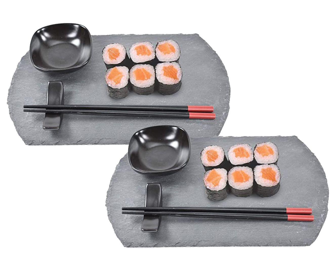 Kit 8 Peças para Sushi em Ardósia