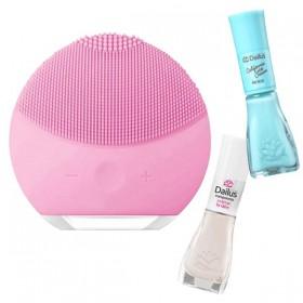 Forever Esponja Elétrica de Limpeza de pele Facial Massageadora + Dailus Esmalte Cremoso Brulee + Dailus Esmalte Cremoso Algodão Doce