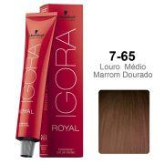 Igora Royal 7-65 Louro Médio Marrom Dourado