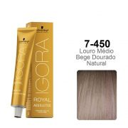 Igora Royal Absolutes 7-450 Louro Médio Bege Dourado Natural