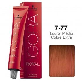 Kit Coloração Igora Royal 3 unidades 7-77 - Ganhe 3 unidades Ox 20 vol 60 ml