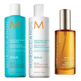 Kit Moroccanoil Shampoo Repair 250ml  + Condicionador Repair 250ml  - Ganhe Body Oil 50ml
