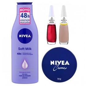 Nivea Loção Body Soft Milk 200ml  + Nivea Creme 56gr + Impala Esmalte Perolado Amante + Impala Esmalte Cremoso Nude Clássico