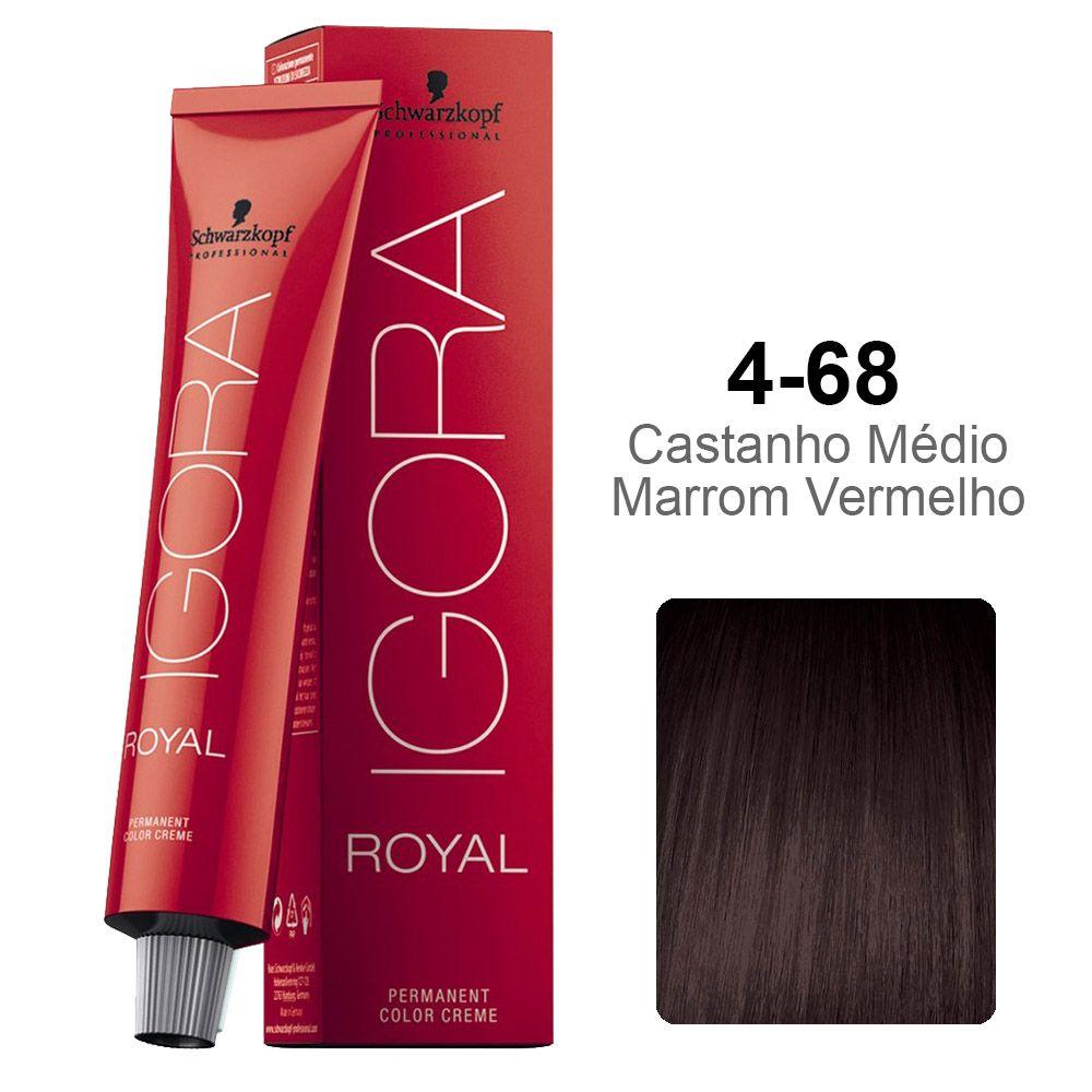 Igora Royal 4-68 Castanho Médio Marrom Vermelho