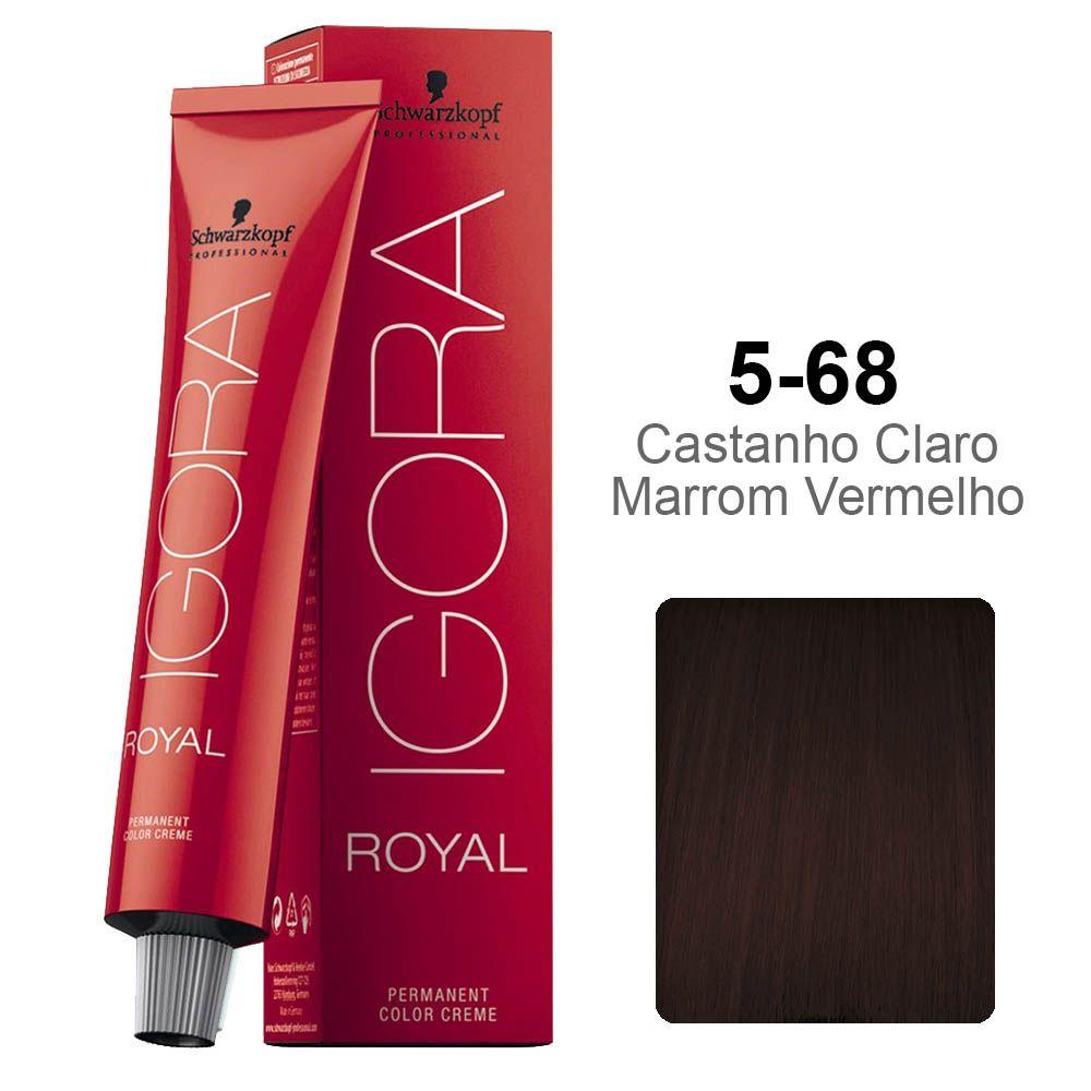 Igora Royal 5-68 Castanho Claro Marrom Vermelho
