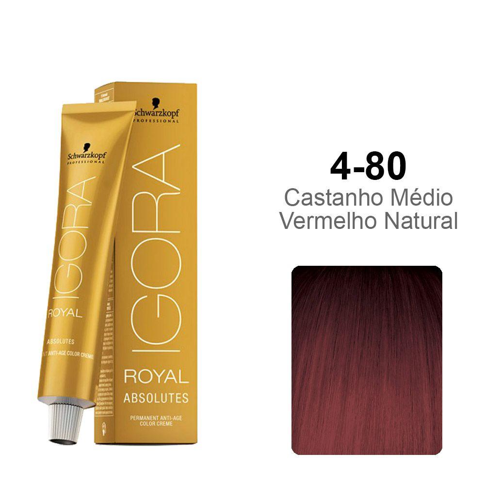 Igora Royal Absolutes 4-80 Castanho Médio Vermelho Natural