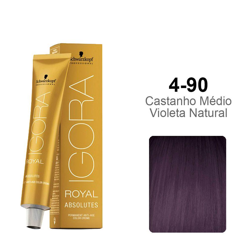Igora Royal Absolutes 4-90 Castanho Médio Violeta Natural