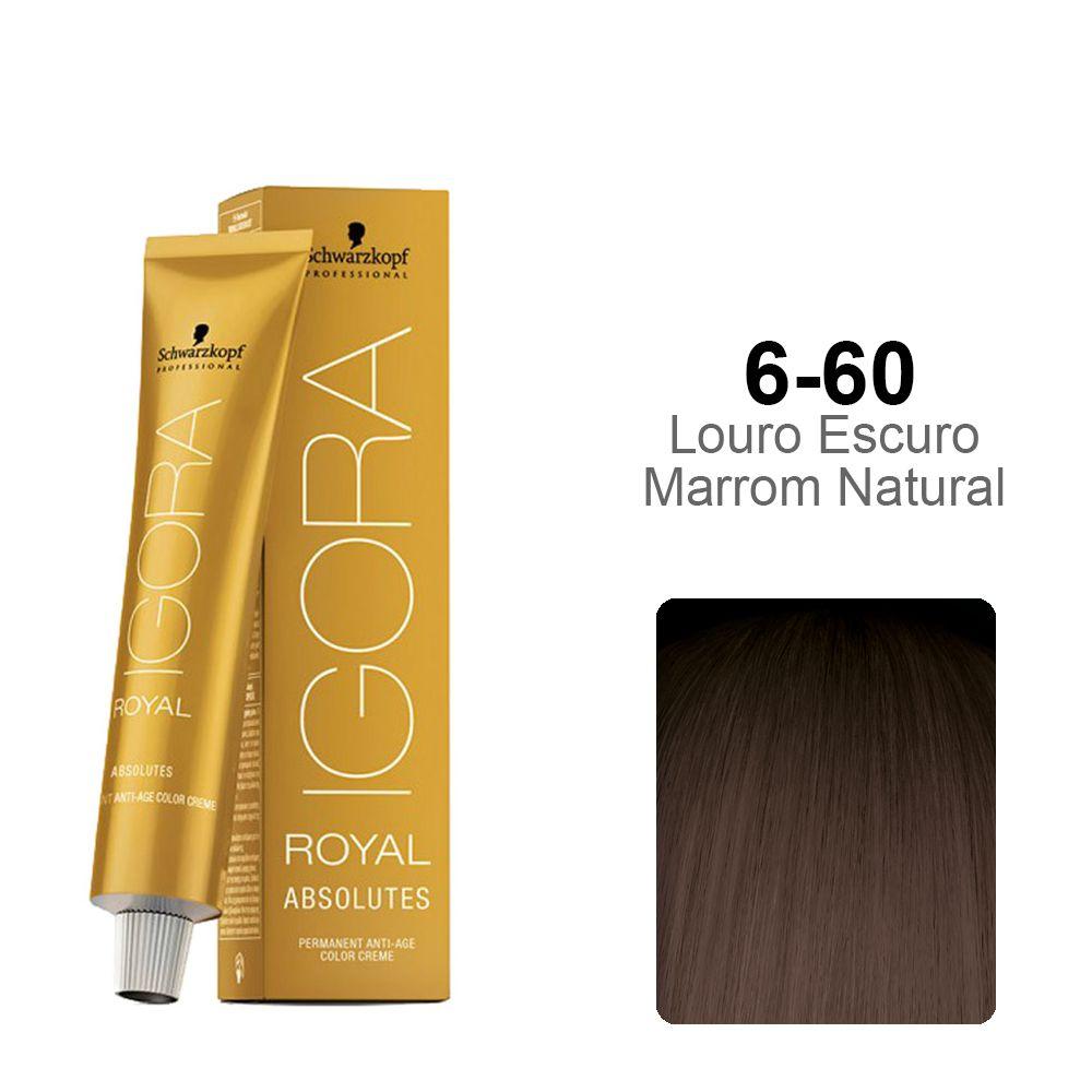 Igora Royal Absolutes 6-60 Louro Escuro Marrom Natural