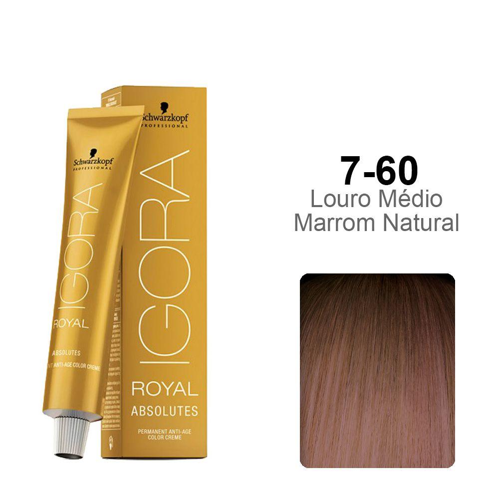 Igora Royal Absolutes 7-60 Louro Médio Marrom Natural