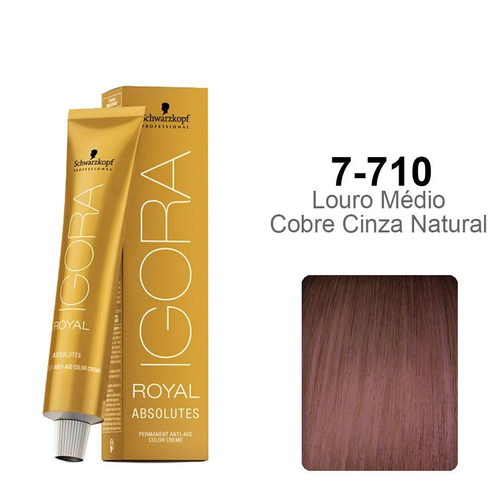 Igora Royal Absolutes 7-710 Louro Médio Cobre Cinza Natural