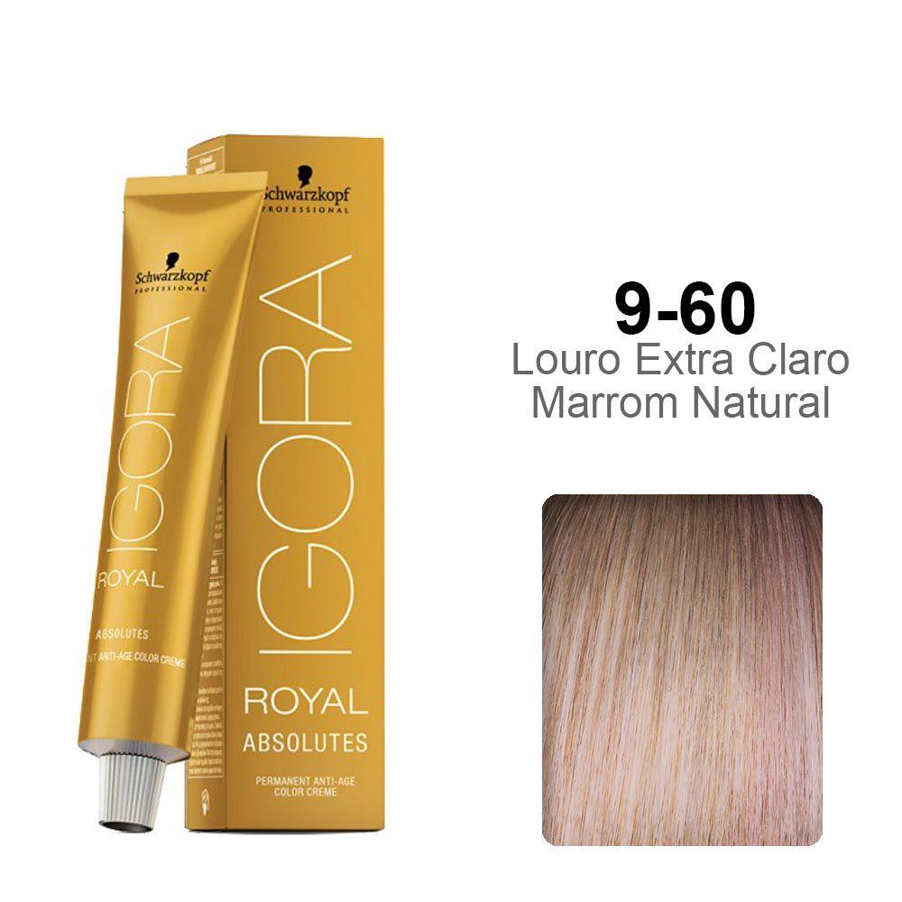Igora Royal Absolutes 9-60 Louro Extra Claro Marrom Natural