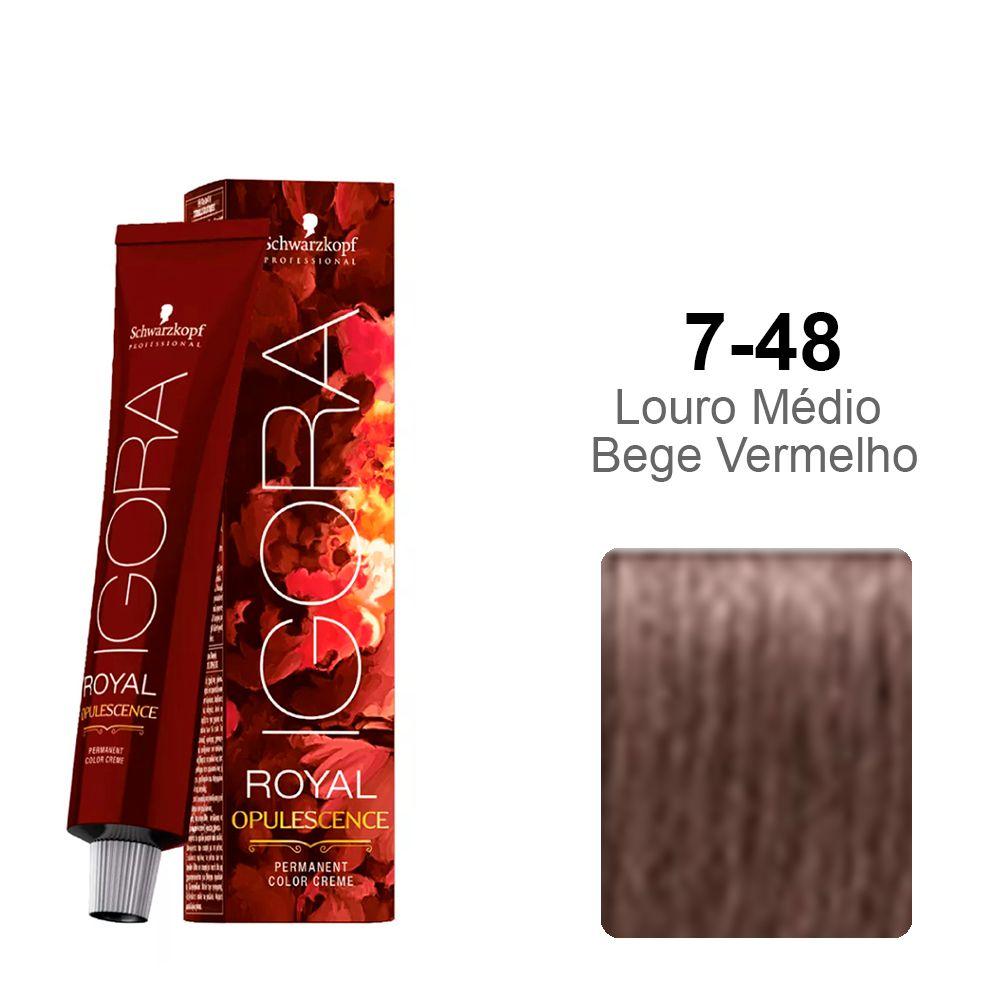 Igora Royal Opulescence 7-48 Louro Médio Bege Vermelho