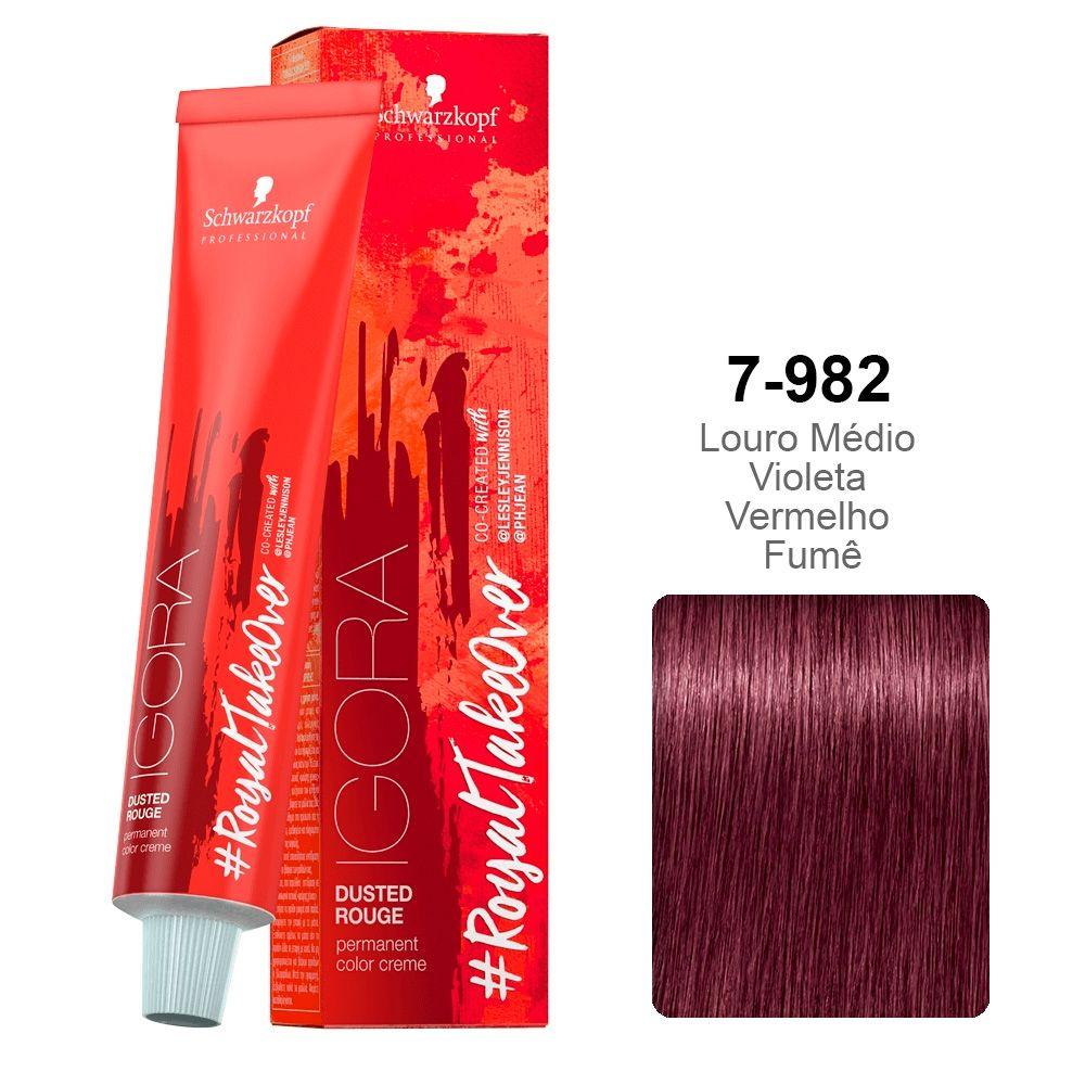 Igora RoyalTakeOver Dusted Rouge 7-982 Louro Médio Violeta Vermelho Fumê