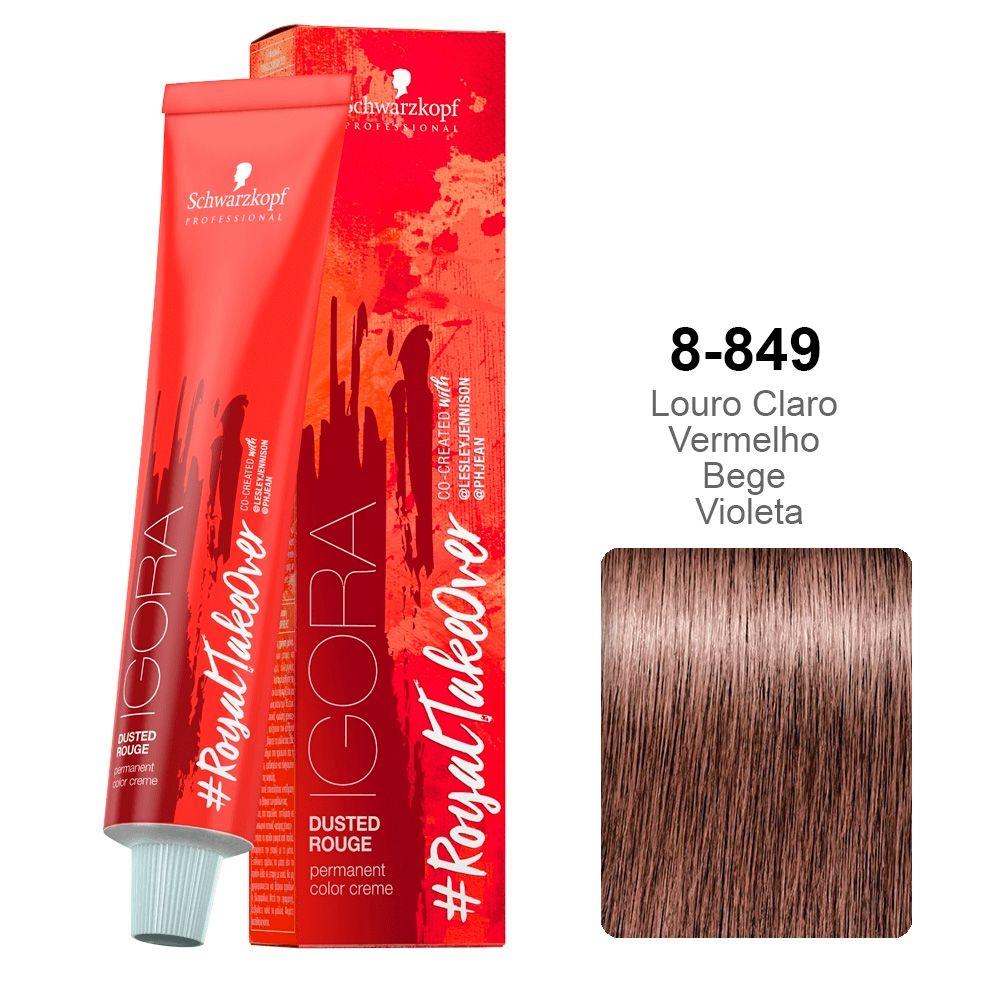 Igora RoyalTakeOver Dusted Rouge 8-849 Louro Claro Vermelho Bege Violeta
