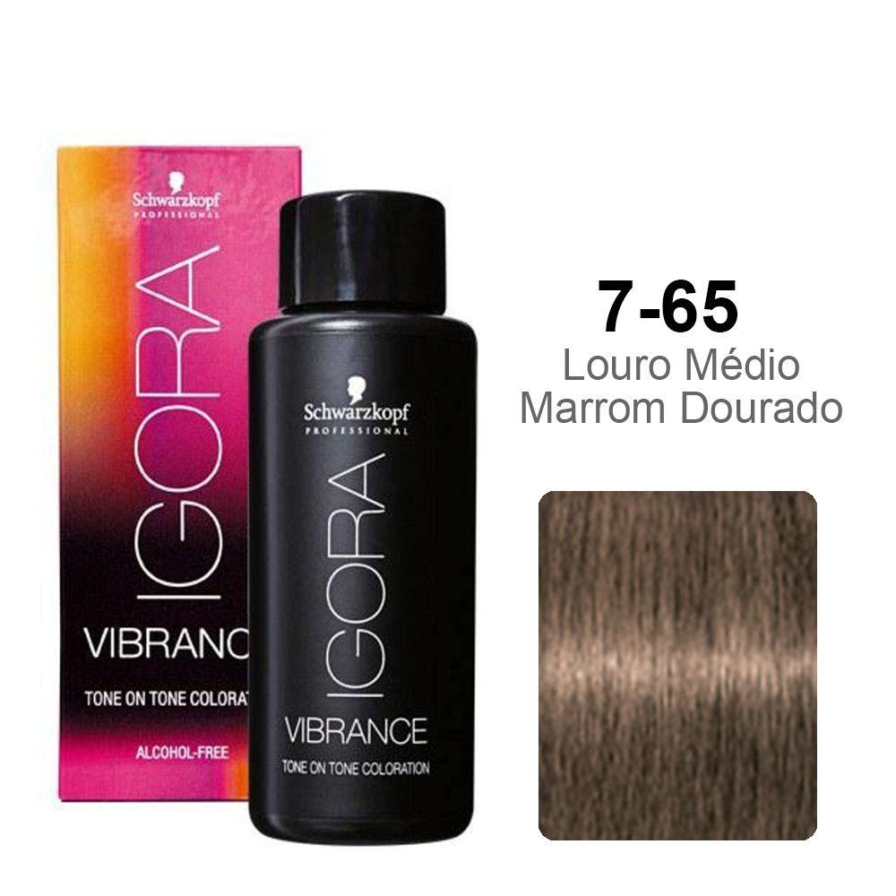 Igora Vibrance 7-65 Louro Médio Marrom Dourado