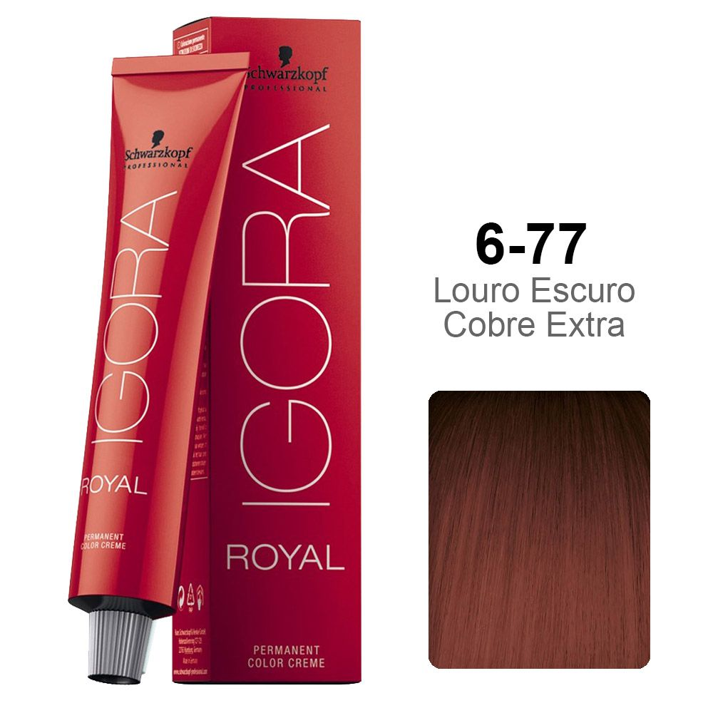 Kit Coloração Igora Royal 3 unidades 6-77 + 3 unidades Ox 30 vol 60 ml