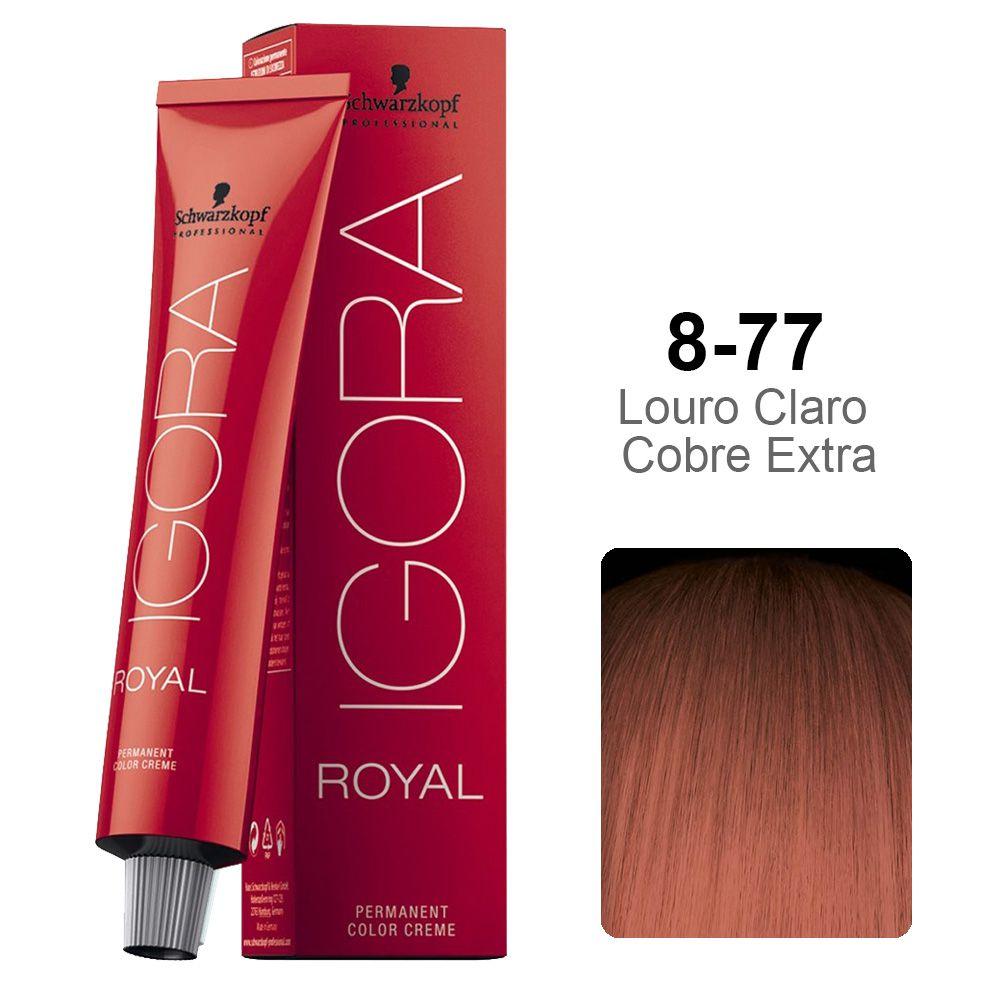 Kit Coloração Igora Royal 3 unidades 8-77 - Ganhe 3 unidades Ox 10 vol 60 ml