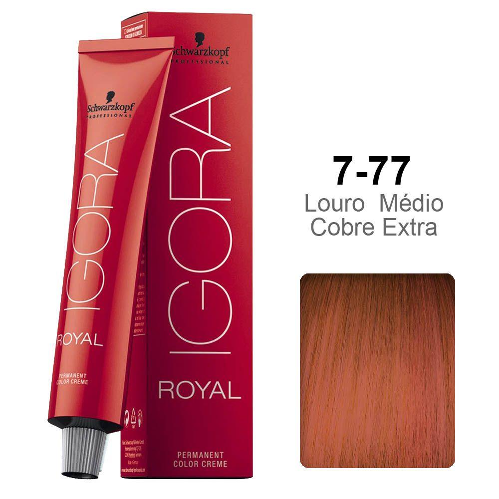 Kit Coloração Igora Royal 7-77 + Ox 40 vol 60 ml