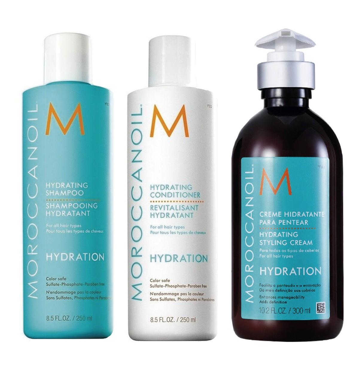 Kit Moroccanoil Hidratante Shampoo 250ml  + Condicionador 250ml + Creme de Pentear 300ml