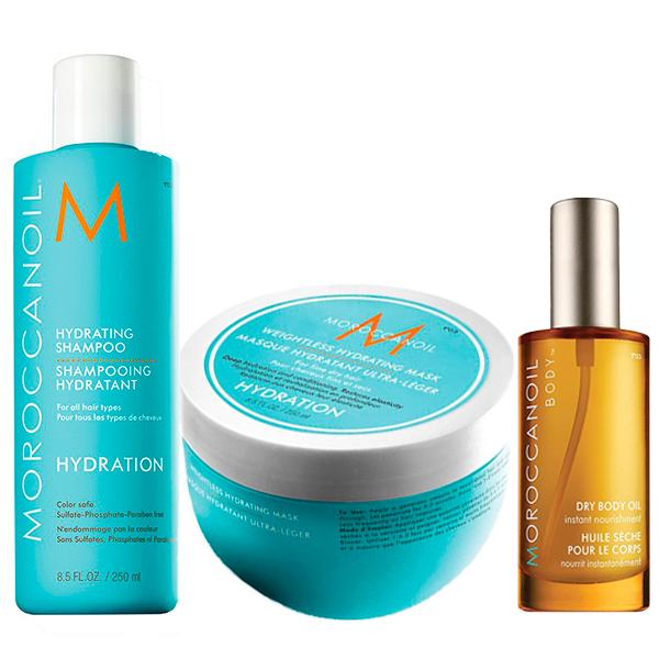 Kit Moroccanoil Shampoo Hidratante 250ml  + Máscara Hidratante light 250ml  - Ganhe Body Oil 50ml