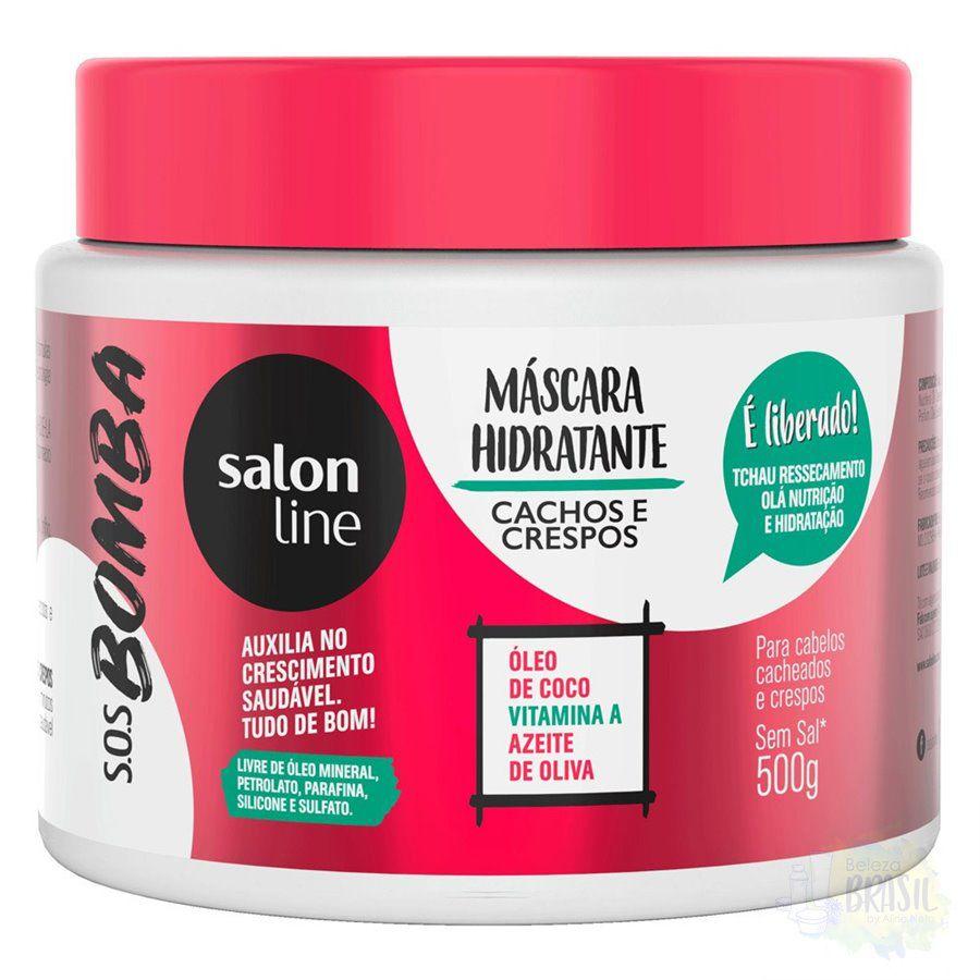 Salon Line Máscara Hidratante Cachos e Crespos SOS Bomba Vitaminas 500 g