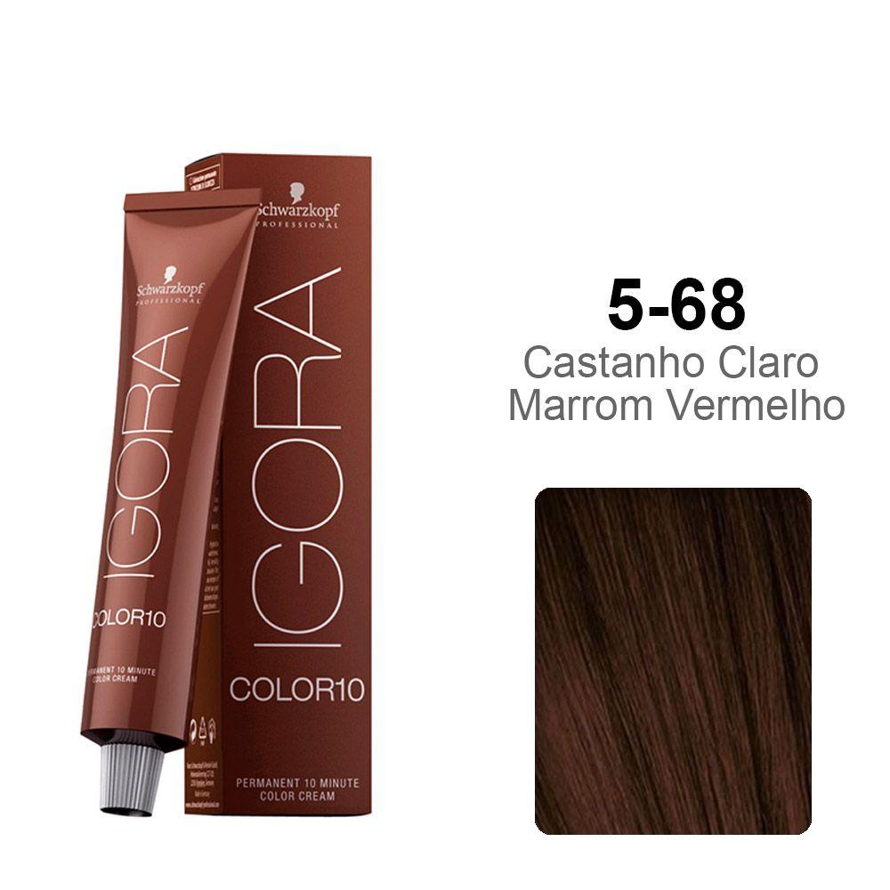 OUTLET - Igora Color10 5-68 Castanho Claro Marrom Vermelho