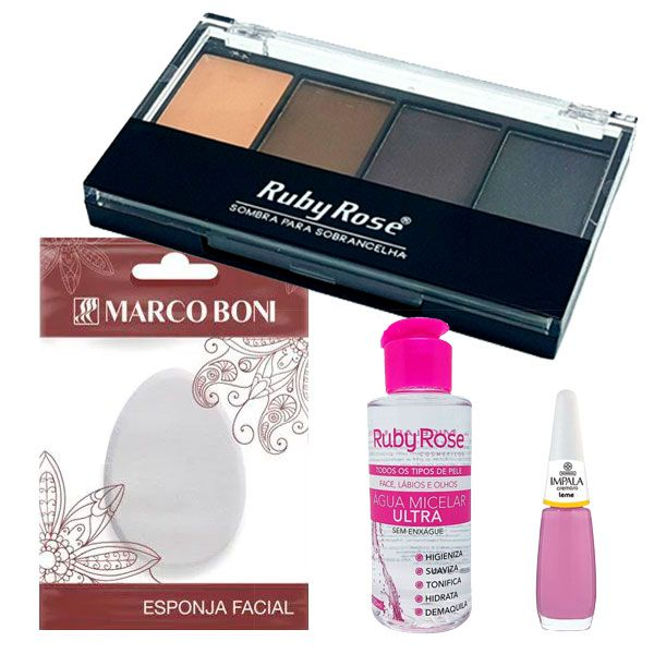 Ruby Rose Paleta de sombras para sobrancelhas + Ruby Rose Água Micelar Ultra + Marco Boni Esponja Para Aplicação De Maquiagem + Impala Esmalte Cremoso Leme