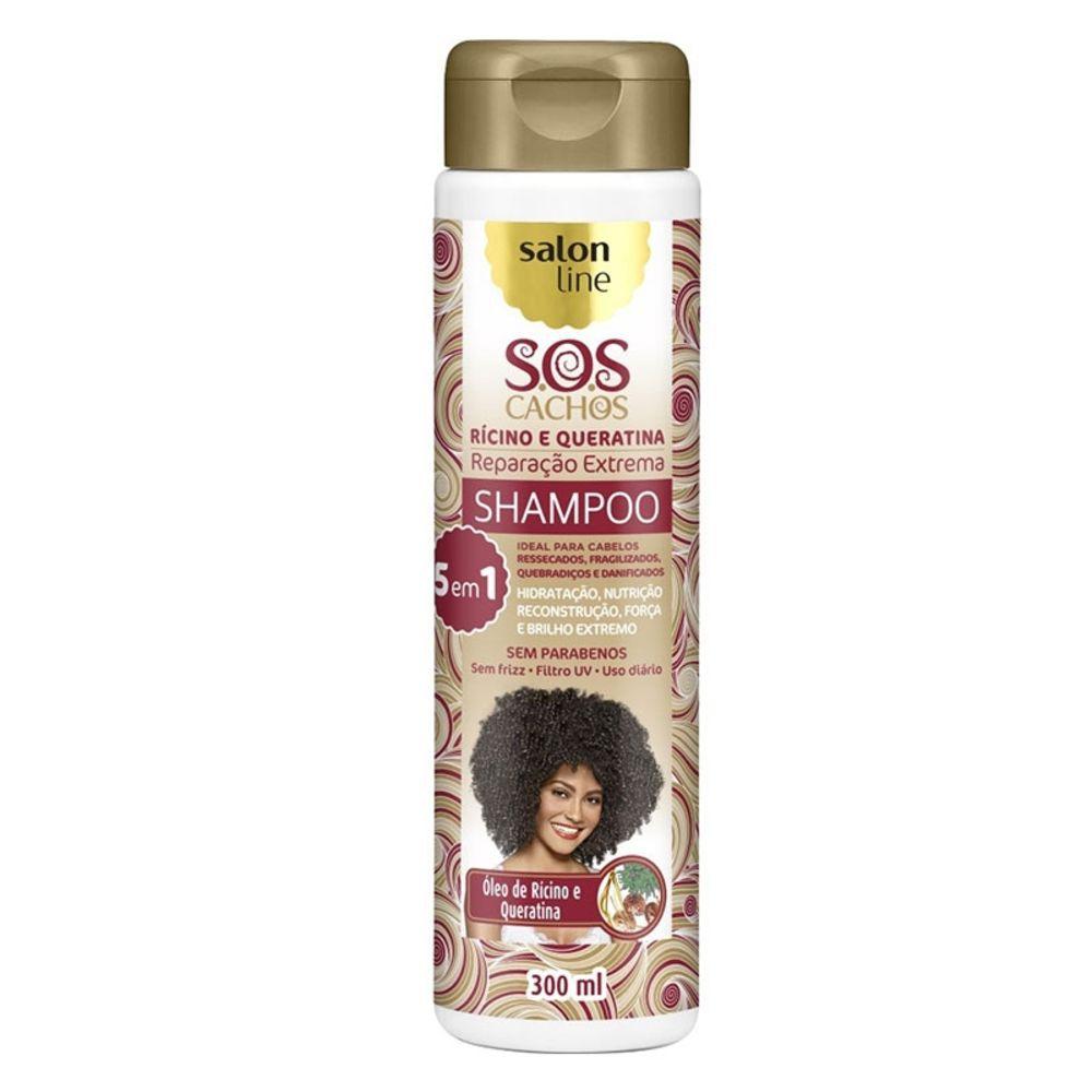 Salon Line Shampoo SOS Cachos Rícino e Queratina 300 ml