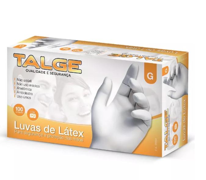 Talge Luva de Latex G com pó 100 unidades
