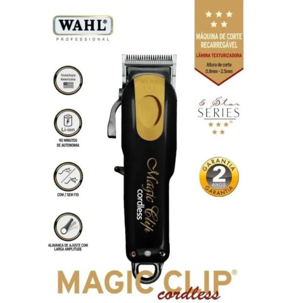 Wahl Máquina de Corte Magic Clip Cordless Black e Gold Bivolt Sem Fio Bivolt
