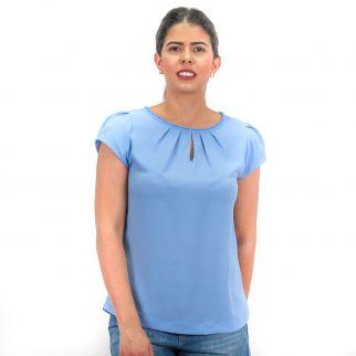 Blusa Crepe com Bolinhas Azul Claro