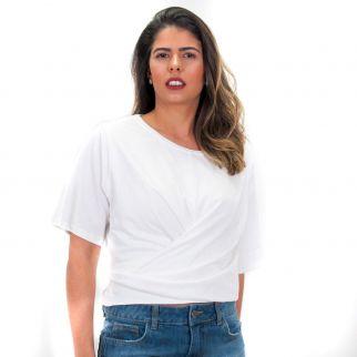 Blusa Lisa com Amarração Branca