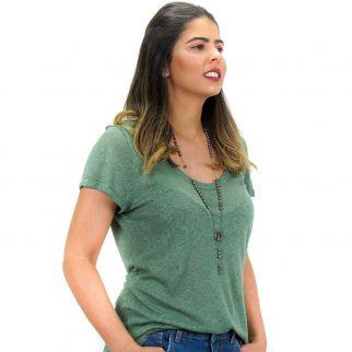 Blusa Podrinha Decote V Verde Escuro