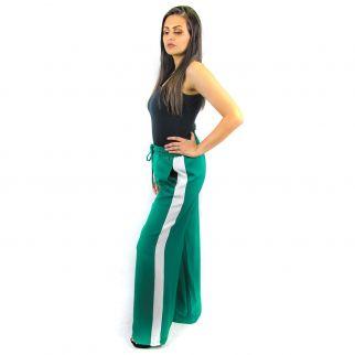 Calça Pantalona com Listras Laterais Verde