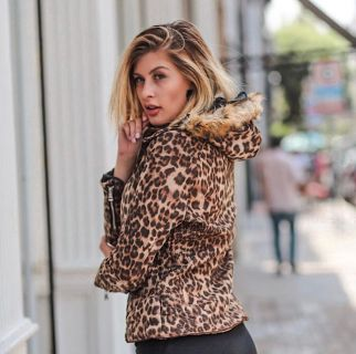 Jaqueta Suede Animal Print