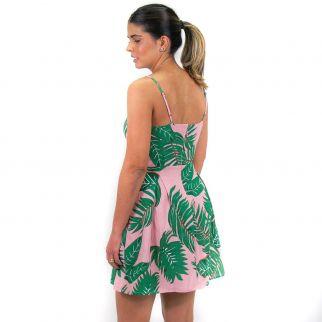 Vestido Estampado Folhagem Rosa
