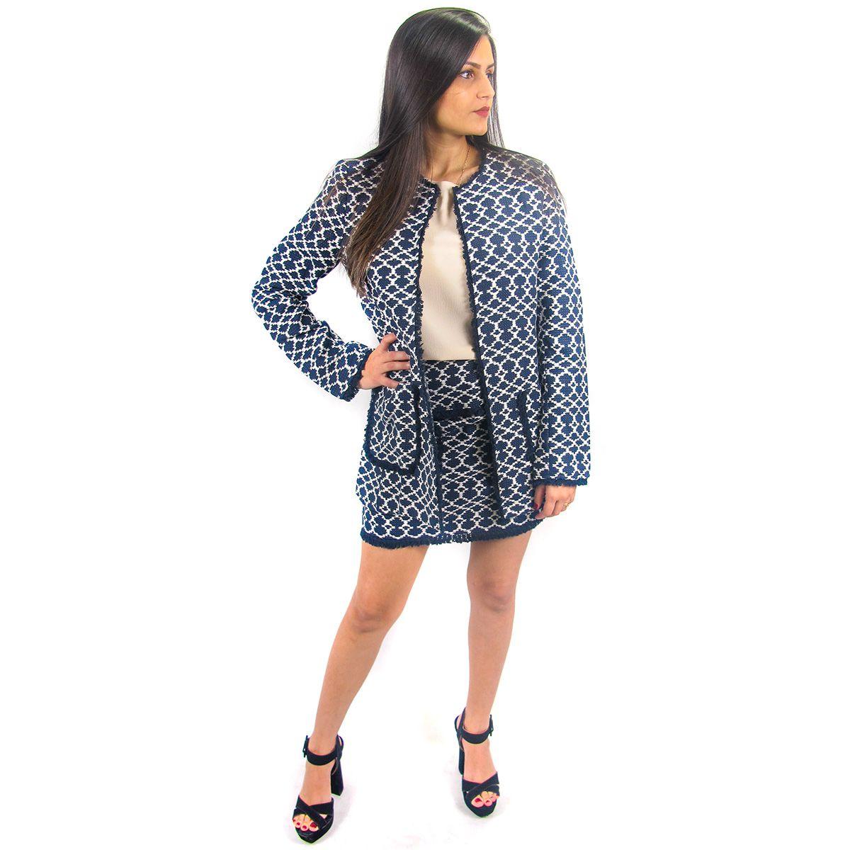 Blazer Jacquard Tweed Franjas