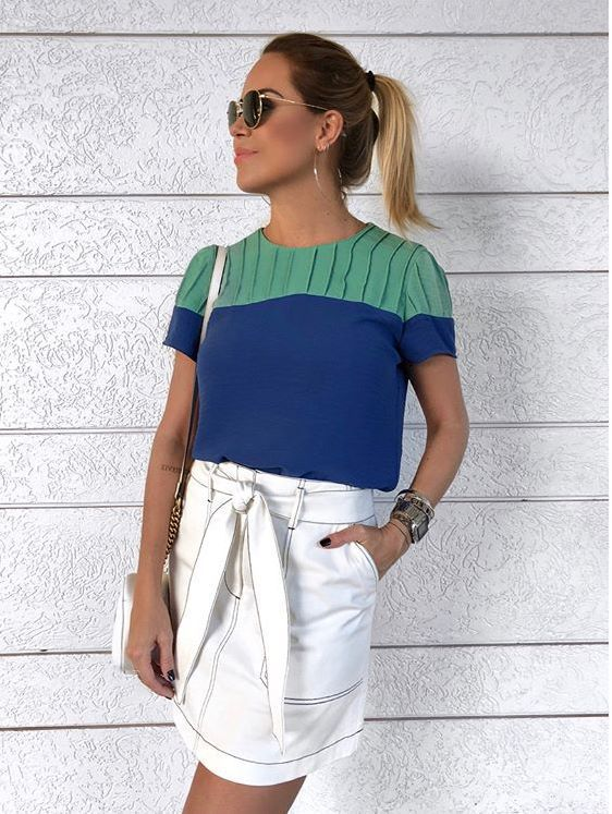 Blusa Crepe Bicolor Azul