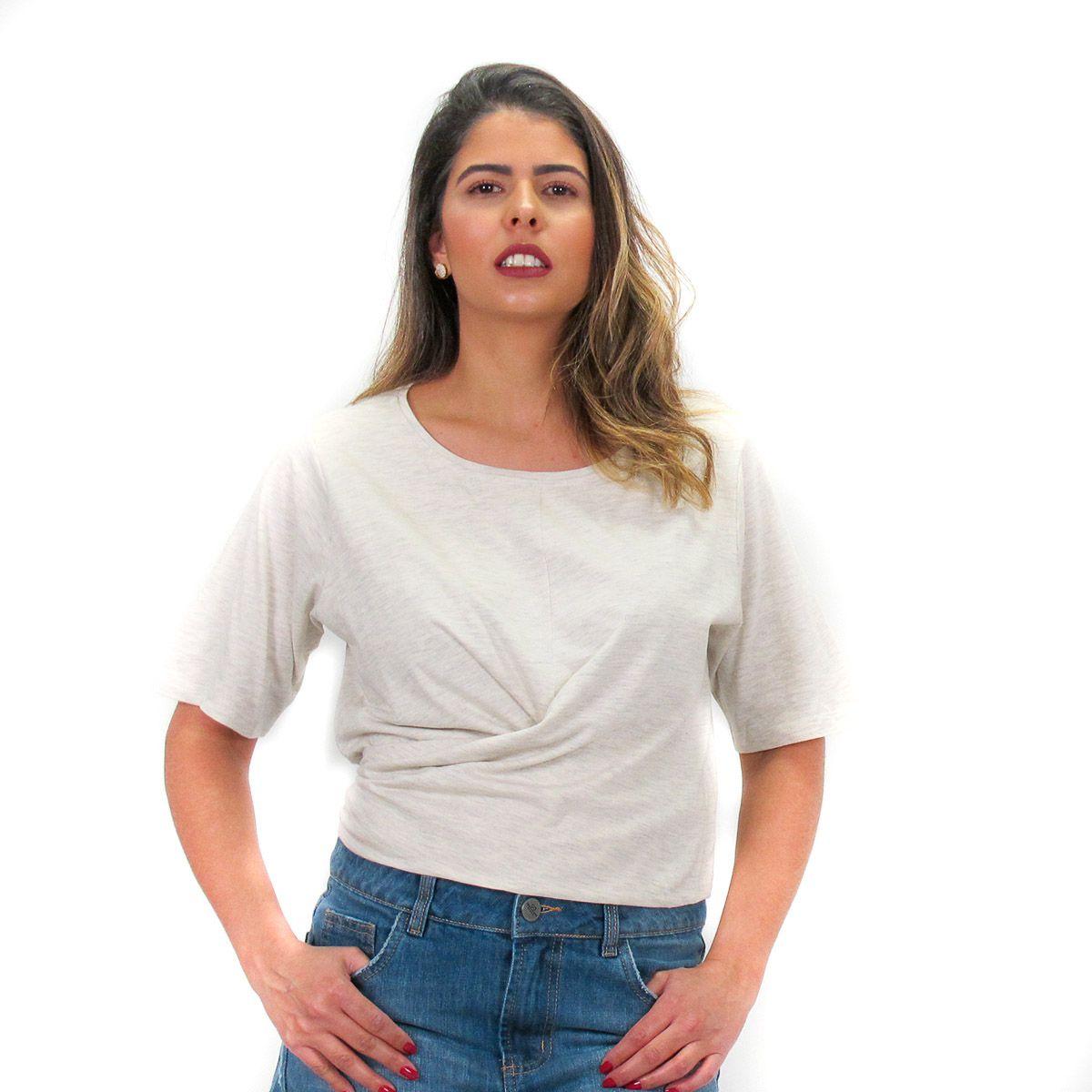 Blusa Lisa com Amarração Off-White