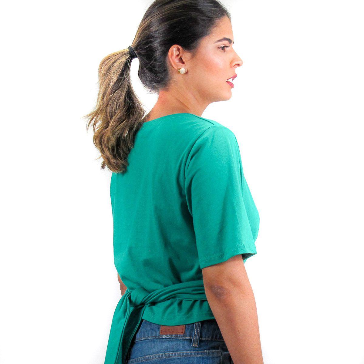 Blusa Lisa com Amarração Verde