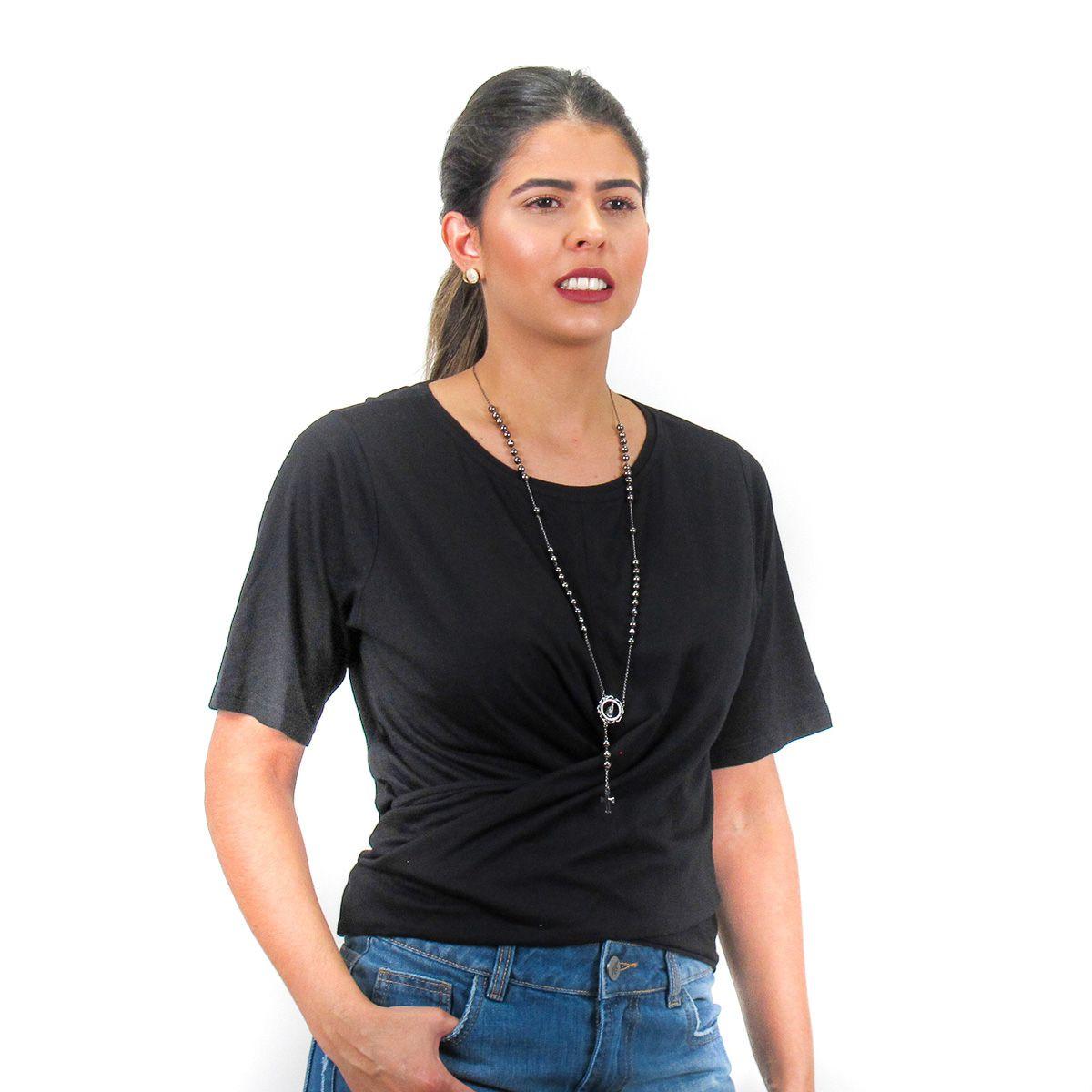 Blusa Lisa com Amarração Preta