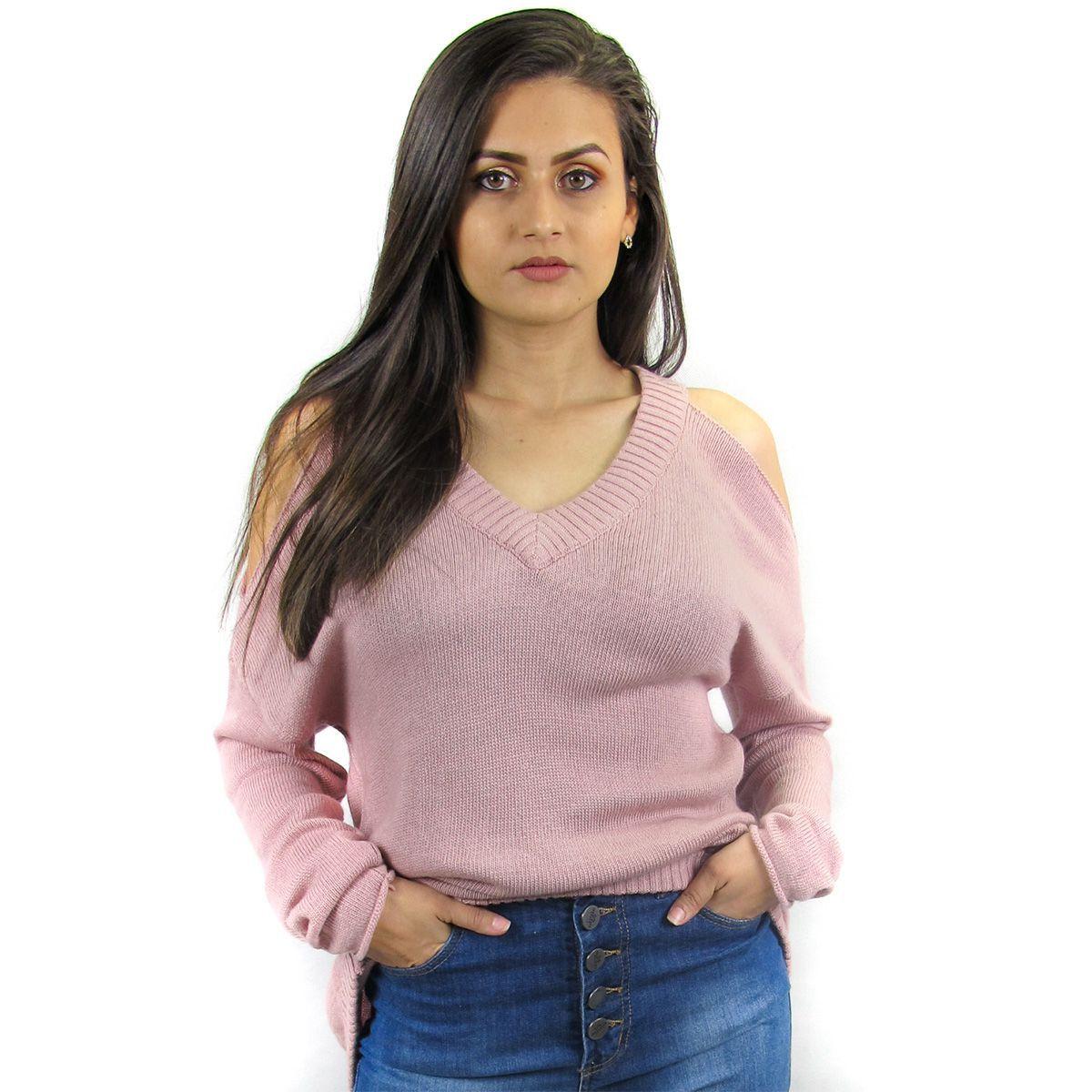 Blusa Tricot Ombro Vazado