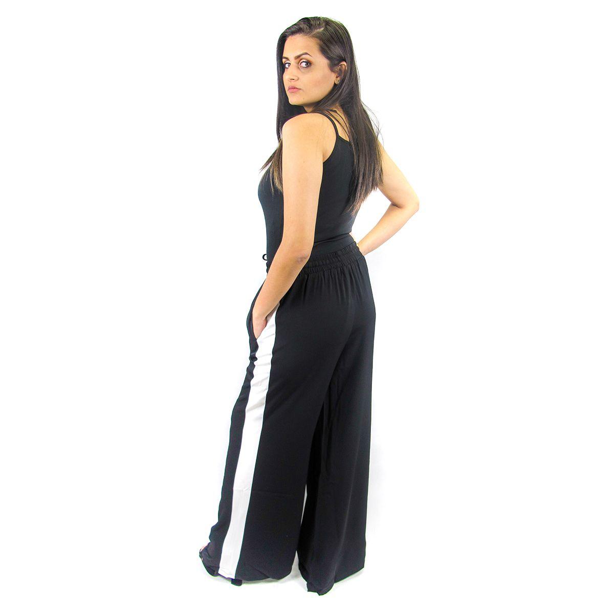 Calça Pantalona com Listras Laterais Preta