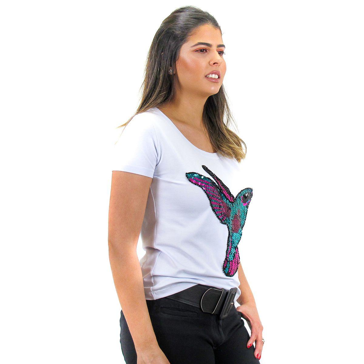 Camiseta Bordada Beija Flor Branco