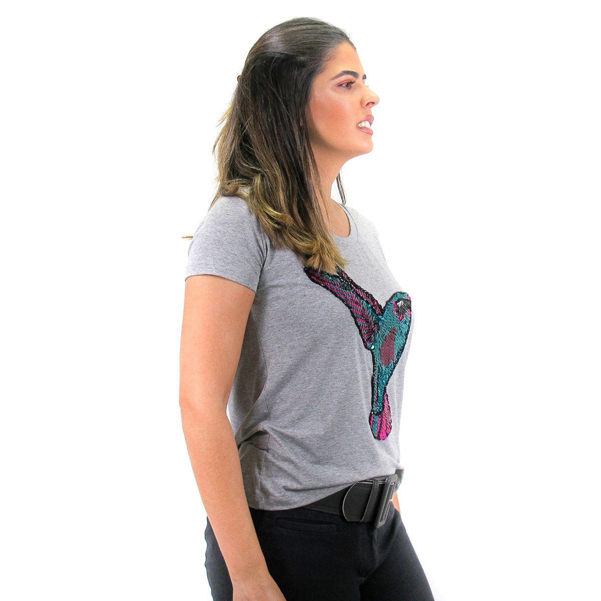 Camiseta Bordada Beija Flor Mescla