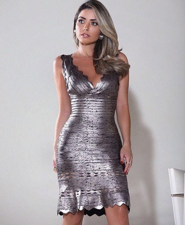 Vestido Bandagem Prata