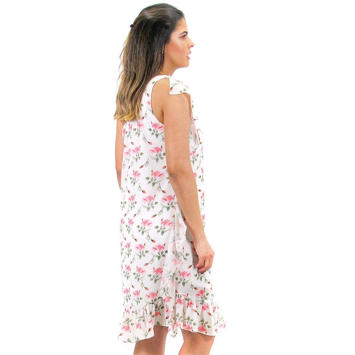 Vestido Chiffon Estampado Floral