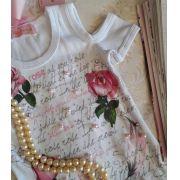 Blusa Pituchinhus branca flores